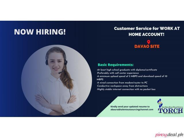 Customer Service for Healthcare-Work from Home Account