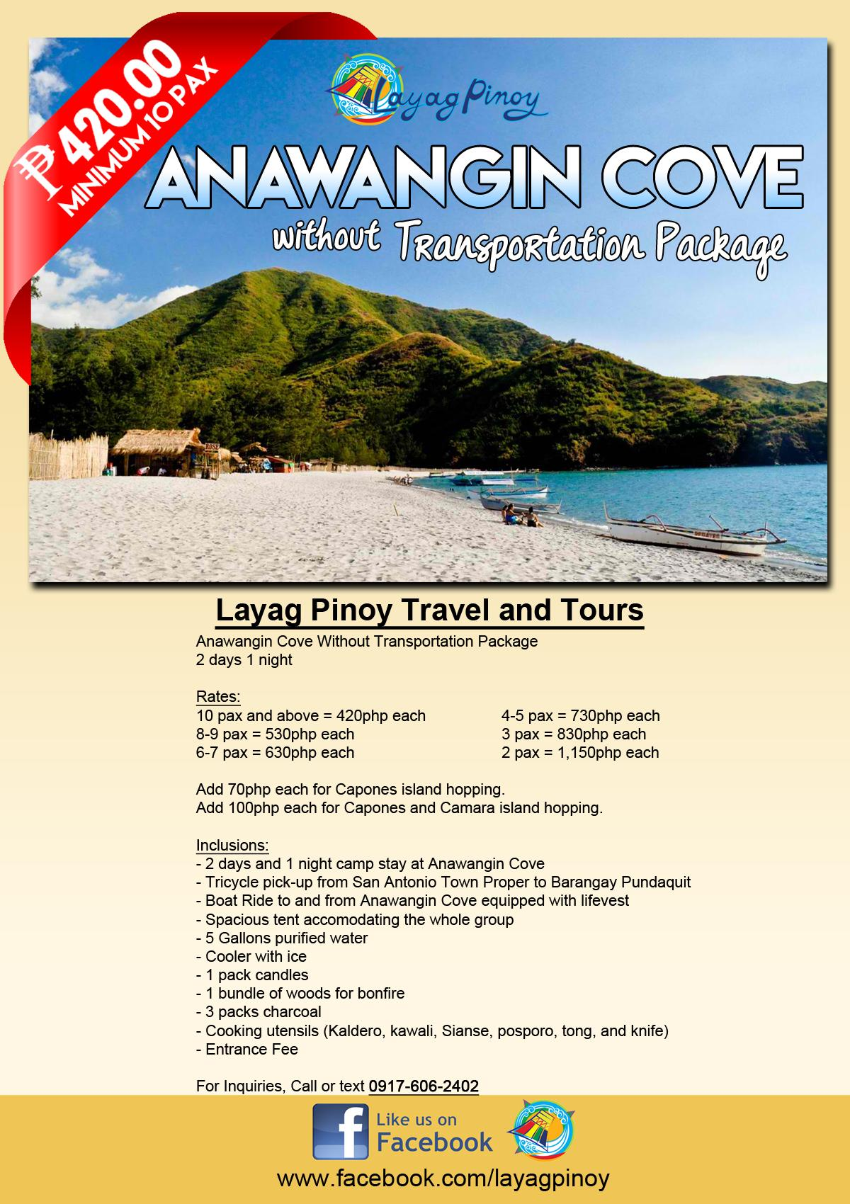 Anawangin Cove Without Transportation Package
