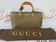 Authentic Gucci Bamboo Handbag Grained Leather