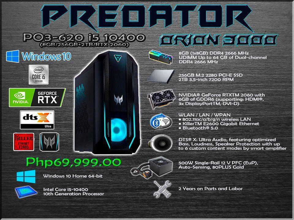 ACER ORION 3000 GAMING DESKTOP [PO3-620 i5 10400/RTX 2060]